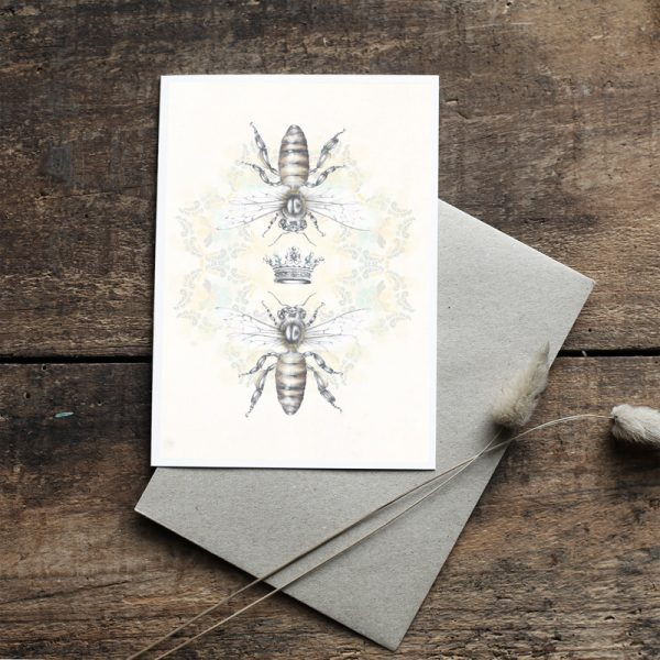 Queen Honey Bee Bohemian hand drawn illustrated Art Card by Tasmanian artist Lara Hardy From Billie Hardy Creative