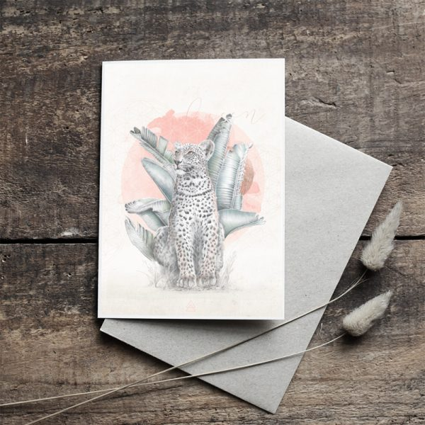 Leopard and watercolour Bohemian hand drawn illustrated art card by Tasmanian artist Lara Hardy From Billie Hardy Creative