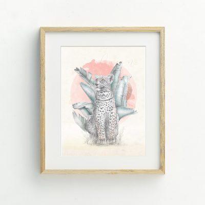 Leopard and watercolour Bohemian hand drawn illustrated art print by Tasmanian artist Lara Hardy From Billie Hardy Creative