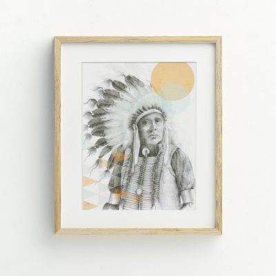 Native American Indian Bohemian tribal Illustrated Art Print by Billie Hardy Creative
