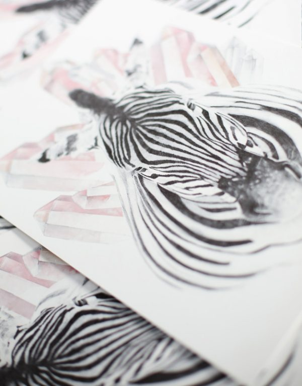 Bohemian Nursery Zebra and Crystals art print by Tasmanian artist Lara Hardy From Billie Hardy Creative
