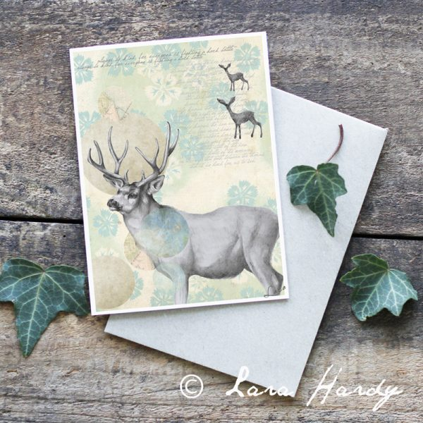 Bohemian Stag tribal Illustrated Art Card by Tasmanian artist Lara Hardy From Billie Hardy Creative