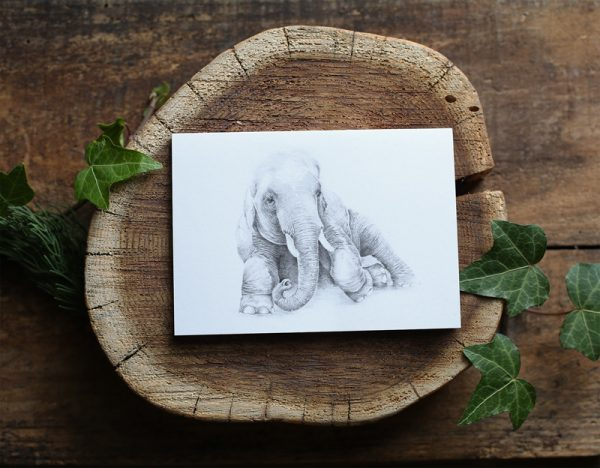 Hand drawn bohemian elephant illustrated art card by Tasmanian artist Lara Hardy From Billie Hardy Creative
