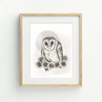 Masked Owl art print illustration by Tasmanian artist Lara Hardy From Billie Hardy Creative